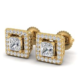 2.04 ctw Intense Yellow Diamond Stud Earrings 10K Yellow Gold