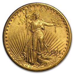 1911-S $20 Saint-Gaudens Gold Double Eagle AU