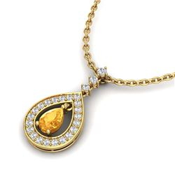 1 ctw Citrine & VS/SI Diamond Necklace Halo 14K Rose Gold