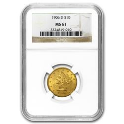 1906-D $10 Liberty Gold Eagle MS-61 NGC