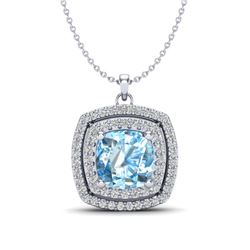 2 ctw Ruby & VS/SI Diamond Necklace Halo 18K White Gold
