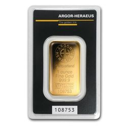 1 oz Gold Bar - Argor-Heraeus KineBar Design (In Assay)
