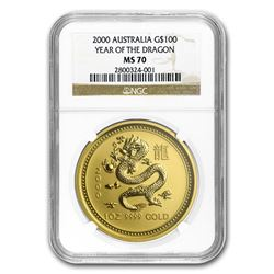 2000 1 oz Gold Lunar Year of the Dragon MS-70 NGC (Series I)