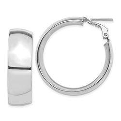 14k White Gold Omega Back Hoop Earrings - 10x32 mm