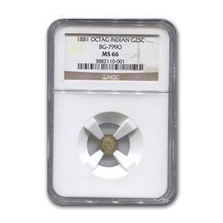 1881 Indian Octagonal 25¢ Gold MS-66 NGC (BG-799O)