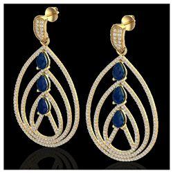 3.50 ctw Sky Blue Topaz & VS/SI Diamond Necklace 18K Yellow Gold