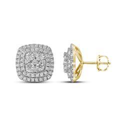 14kt Yellow Gold Princess Diamond Halo Bridal Wedding Engagement Ring Band Set 1/2 Cttw