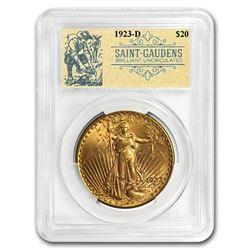 1923-D $20 Saint-Gaudens Double Eagle BU PCGS (Prospector Label)