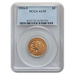 1916-S $5 Indian Gold Half Eagle AU-55 PCGS