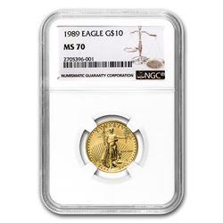1989 1/4 oz Gold American Eagle MS-70 NGC