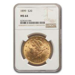 1899 $20 Liberty Gold Double Eagle MS-64 NGC
