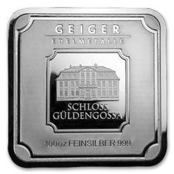 100 oz Silver Bar - Geiger Edelmetalle (Original Square Series)
