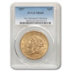 1857 $20 Liberty Gold Double Eagle MS-60 PCGS