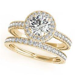 2.79 ctw VS/SI Diamond 2pc Wedding Set Halo 14K Yellow Gold
