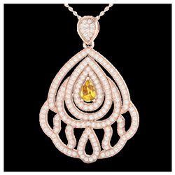 175 ctw Citrine & VS/SI Diamond Halo Necklace 14K Rose Gold