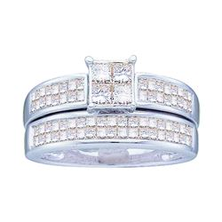 14kt Yellow Gold Princess Diamond Bridal Wedding Engagement Ring Band Set 1.00 Cttw