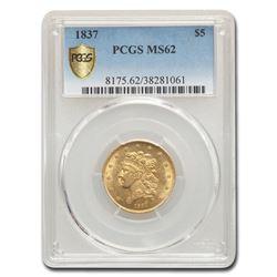 1837 $5 Gold Classic Head Half Eagle MS-62 PCGS