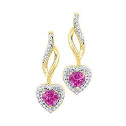 10kt White Gold Round Diamond Framed Cluster Dangle Earrings 1/5 Cttw