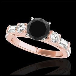 1.40 ctw SI Fancy Blue Diamond Solitaire Halo Ring 10K Rose Gold