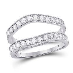 14kt White Gold Round Diamond Cluster Bridal Wedding Engagement Ring Band Set 1.00 Cttw