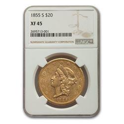 1855-S $20 Liberty Gold Double Eagle XF-45 NGC