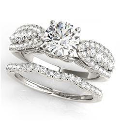 33.25 ctw London Topaz & Diamond Halo Necklace 10K White Gold