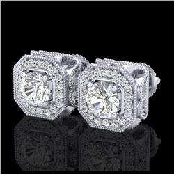 5 ctw Aquamarine & VS/SI Diamond Tennis Earrings 10K White Gold