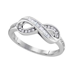 10kt White Gold Round Diamond Solitaire Openwork Promise Bridal Ring 1/8 Cttw