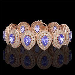 82.17 ctw Emerald & Diamond Necklace 14K Rose Gold