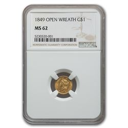 1849 $1 Liberty Head Gold Open Wreath MS-62 NGC