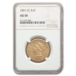 1891-CC $10 Liberty Gold Eagle AU-50 NGC