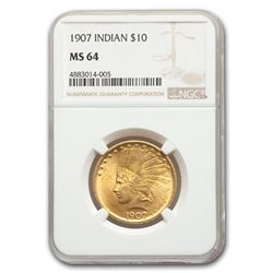 1907 $10 Indian Gold Eagle MS-64 NGC