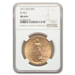 1911-D/D $20 Saint-Gaudens Gold Double Eagle MS-64+ NGC (FS-501)