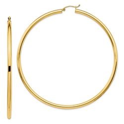 14k Yellow Gold 3 mm Polished Hoop Earrings - 30 mm