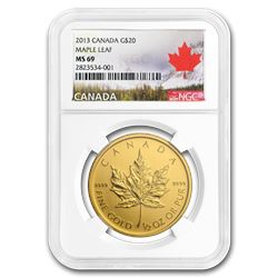 2013 Canada $20 1/2 oz Gold Maple Leaf MS-69 NGC