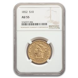 1852 $10 Liberty Gold Eagle AU-55 NGC