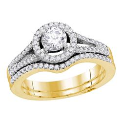 14kt Yellow Gold Round Diamond Flower Cluster Bridal Wedding Engagement Ring Band Set 1-1/2 Cttw