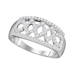 10kt White Gold Round Diamond Triple Cascading Flower Cluster Pendant 1/20 Cttw