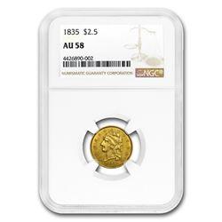 1835 $2.50 Gold Classic Head AU-58 NGC