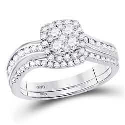 14kt White Gold Round Diamond Cluster Luxury Necklace 1-7/8 Cttw