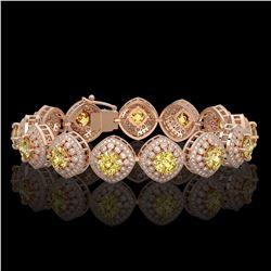66 ctw Citrine & VS/SI Diamond Eternity Necklace 14K Rose Gold