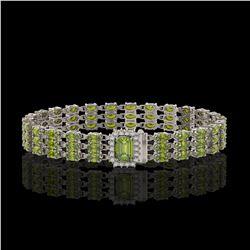 30.12 ctw Ruby & Diamond Bracelet 14K White Gold