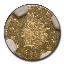 1880 8/7 Indian Round 50 Cent Gold MS-62 NGC (PL\, BG-1067)