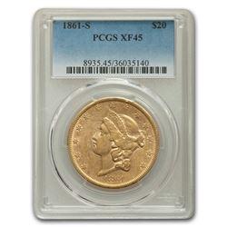 1861-S $20 Liberty Gold Double Eagle XF-45 PCGS