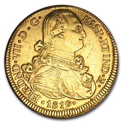 1808-1820 Colombia Gold 8 Escudos of Ferdinand VII XF Details