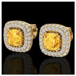 1.45 ctw SI Intense Yellow Diamond Solitaire Ring 10K White & Rose Gold