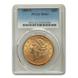 1889-S $20 Liberty Gold Double Eagle MS-61 PCGS