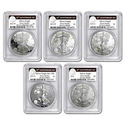 2011 5-Coin Silver Eagle Set MS/PR-69 PCGS (FS\, 25th Ann. Label)