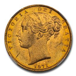 1871 Great Britain Gold Sovereign Victoria Shield MS-64 NGC