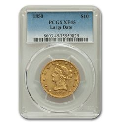 1850 $10 Liberty Gold Eagle Large Date XF-45 PCGS